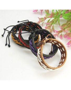 Mode læderarmbånd med nylon snor dekoration