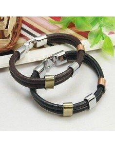 Mode læderarmbånd med metal lås og beads