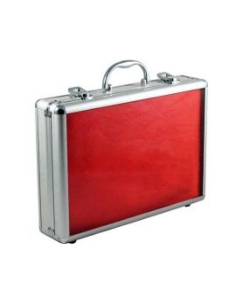 Aluminium kuffert til 24 armbånd rød velour
