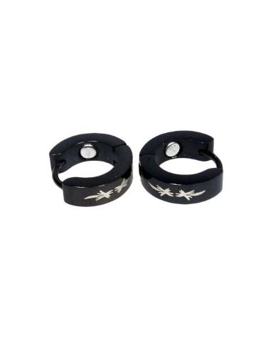 Magnet øreringe sæt rustfri stål sortplatineret med dekoration