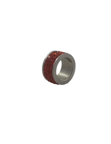 Rustfristål reinstens bead rød sten