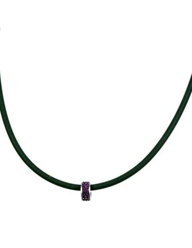 Trio ion Halskæde med lilla rhinsten bead TRI 104 Sort