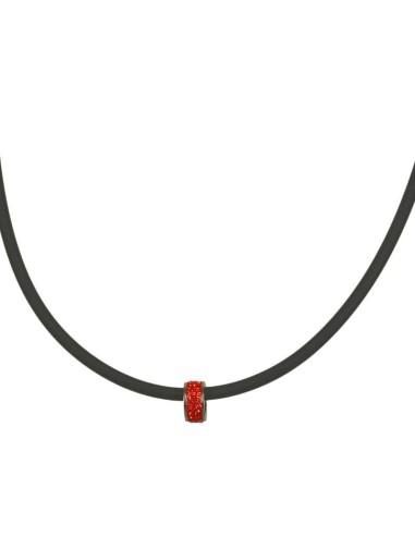 Trio ion Halskæde med rød rhinsten bead TRI 105 Sort
