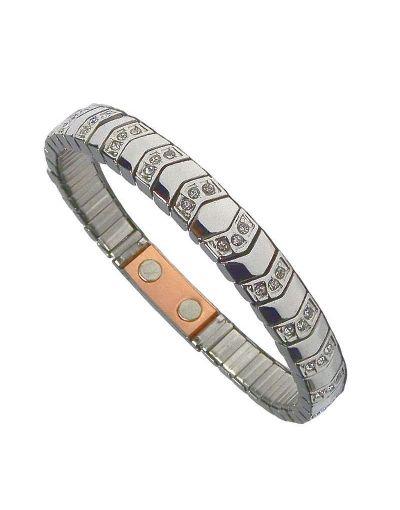 Flexibelt rustfri stål magnetarmbånd med kobber Flex9