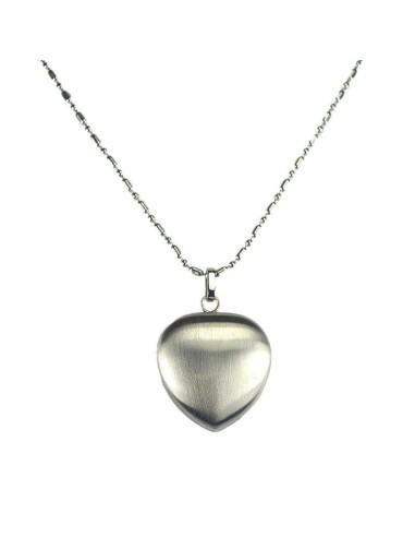 2i1 magnethjerte halskæde børstet stål sølv/sølv