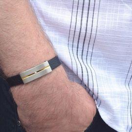 Magnetarmbånd med ægte læderrem JZ5041
