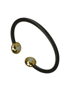 Magnet bangle Snoet tråde Sort/Guld 6029BG