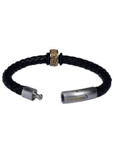 I-Energy Power V2 magnetarmbånd flettet læder med guldfarvet rinesten bead.