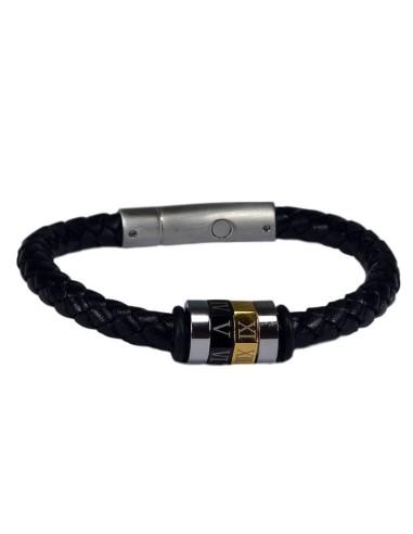 I-Energy Power V2 magnetarmbånd flettet læder med romertal bead.