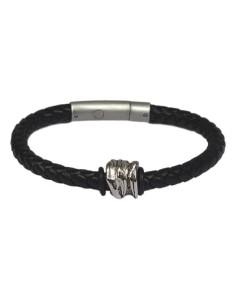 I-Energy Power V2 magnetarmbånd flettet læder med tibetansk sølv bead