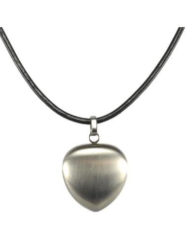 2i1 magnethjerte halskæde børstet stål sølv/sølv læderkæde