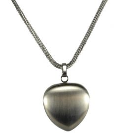 2i1 magnethjerte halskæde børstet stål med rustfri stål kæde