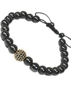 Hematie Beads Armbånd justerbar med guldfarvet CZ sten.