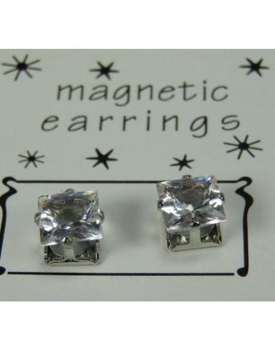 Magnet Øreringe sæt, 5mm klar Firkant sten