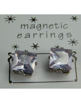 Magnet Øreringe sæt, 7mm firkantet lilla sten