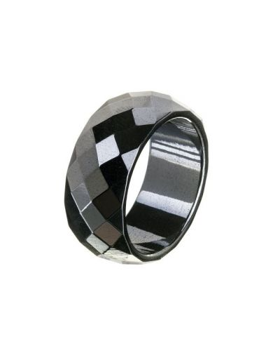 Hematite Facet sleben magnetisk ring 10mm bred